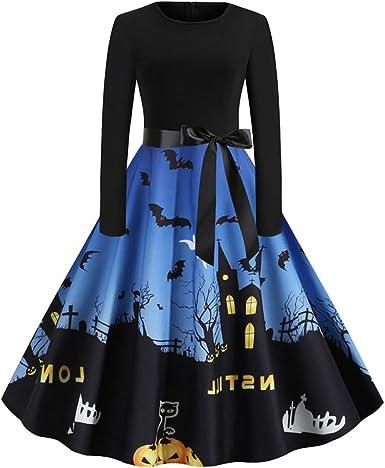 Toamen Womens Halloween Dresses Vintage Lace Print Waist Slim Gown Evening Party Cocktail Swing Maxi Dress
