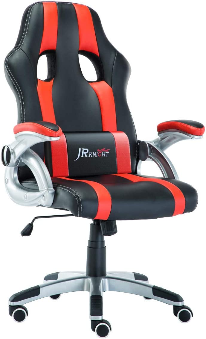 JR Knight Ergonomics Gaming Chair, Sporty Racer Chair Updated Version High Back Faux Leather Executive Desk Chair, Free Swivel Rocking Design with Adjustable Arms Match All Desks Red