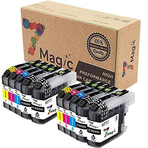 7Magic 10-Pack New Compatible Ink Cartridge Replacement for Brother LC203 XL Use in Brother MFC J460DW J480DW J680DW J880DW J885DW J4320DW J4420DW J4620DW J5520DW J5620DW J5720DW (4BK, 2C, 2Y, 2M) (New Compatible Ink)