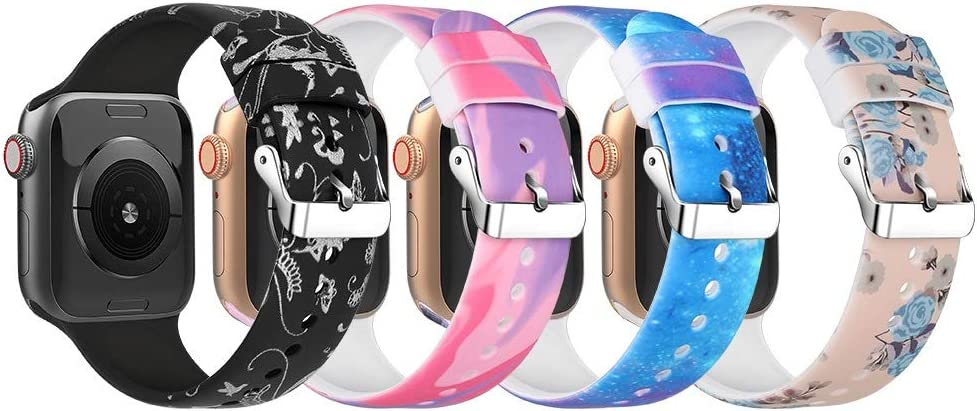KEYSJEFF 4 Pack Floral Band Compatible with Apple Watch Bands Series 6/5/4/3/SE Pattern Printed Sport Band for Iwatch Bands 38/40mm 42/44mm XYUS81026 (Set 3,42mm 44mm)