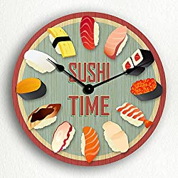 12 Inch Sushi Time Japanese Sushi Themed Silent Wall Clock