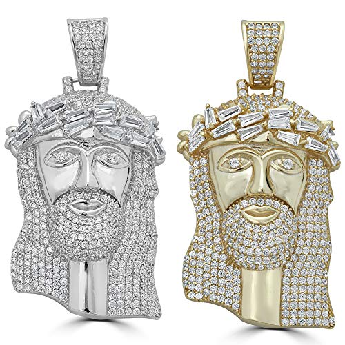 Harlembling Solid 925 Sterling Silver Iced Out Jesus Piece Pendant - Men's - Great for Any Chain! ICY Baguette CZ Bust Down (Two Tone)