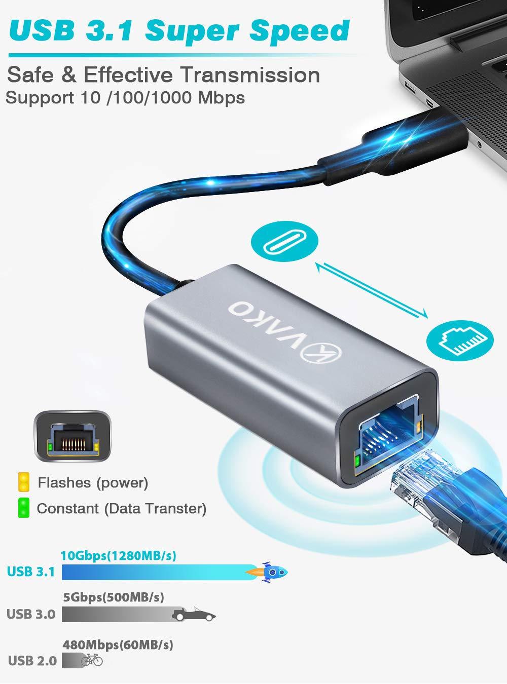 MacBook Air//Pro Surface Book 2 und mehr LAN Adapter USB-C-zu-Ethernet-Adapter 1000Mbps USB C zu RJ45 Ethernet Adapter LAN Netzwerkadapterkabel kompatibel f/ür iPad Pro 2018