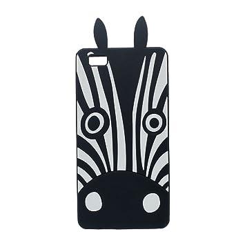Huawei P8 LITE Carcasa, Suave Silicona Gel Cartoon Animal 3D Cebra Forma Linda Moda Funda Carcasa protectora Case Cover para Huawei P8 LITE - Negro