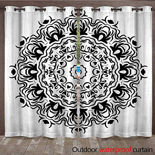 (RenteriaDecor 0utdoor Curtains for Patio Waterproof Flower Mandala Printable Decorative Elements Vector Illustration W84 x)