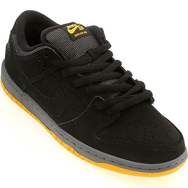 ... closeout nike mens dunk low pro sb black black university gold  synthetic size 4 skateboarding 00509 867168883