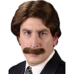 Wig and mustache for a Ron Burgundy costume