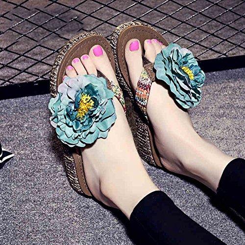12 la Main Perles à Femmes d'été 5cm avec 1 Chaussures Femmes de antidérapantes Faites Plage Couleurs Pantoufles Chaussons Épluchés de pour HAIZHEN à pour Pantoufles Sortes Simples 4 a17AZn