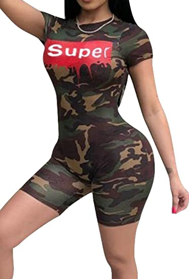 656c8aaa68e Amazon.com  Fubotevic Womens Camouflage Skinny Short Sleeve Biker Shorts  Jumpsuit Romper  Clothing