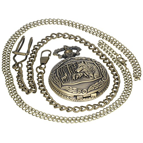 Bronze Wolf Vintage Hollow Flower Pattern Brass Antique Case Pocket Watch Open Face Fob for Men Women 1 PC Necklace 1 PC Clip Key Rib Chain from FobTime