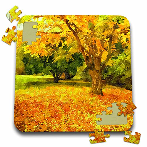 3dRose Doreen Erhardt Autumn Collection - Watercolor Autumn Foliage in Golden Yellows, Orange and Green - 10x10 Inch Puzzle ()
