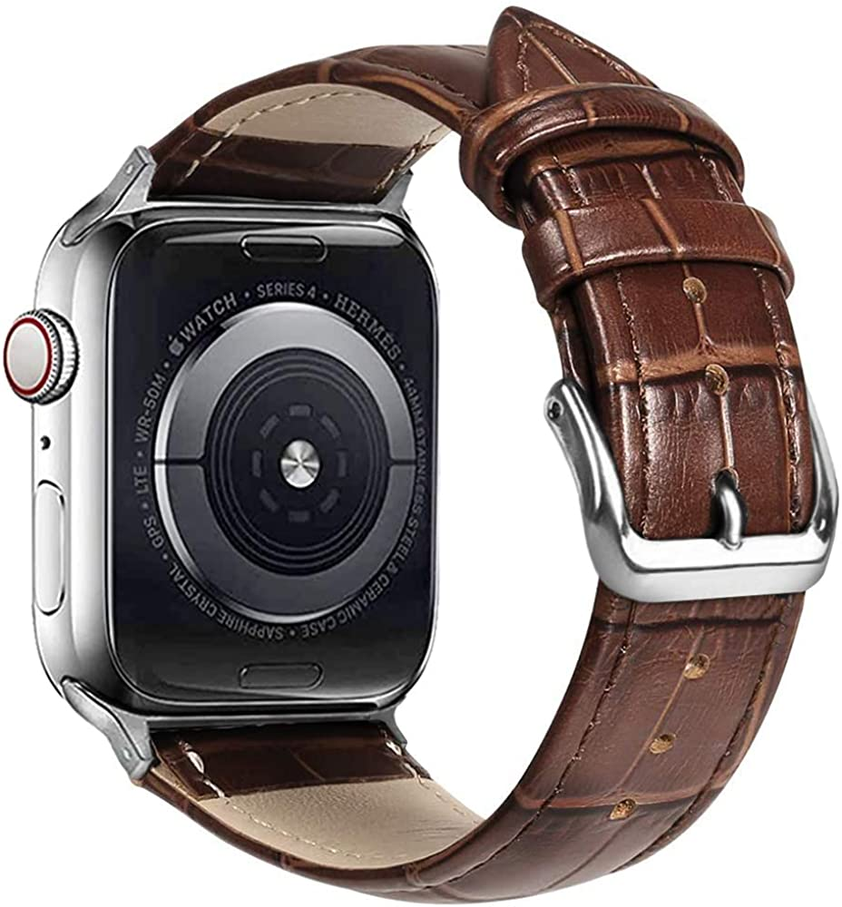 Compatible with Apple Watch Bands 38mm 42mm 40mm 44mm Alligator Leather Replacement Strap for iWatch Series 6/SE/5/4/3/2/1 Bicolor for Men and Women