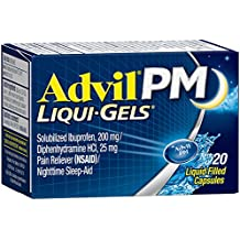 Advil PM (20 Count) Pain Reliever / Nighttime Sleep Aid Liquid Filled Capsule, 200mg Ibuprofen, 38mg Diphenhydramine