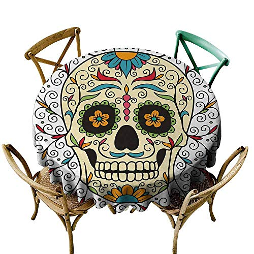 Homrkey Sugar Skull Wrinkle Resistant Tablecloth Catrina Calavera Featured Figure Ornaments Macabre Remember The Dead Theme and Durable Multicolor (Round - 47