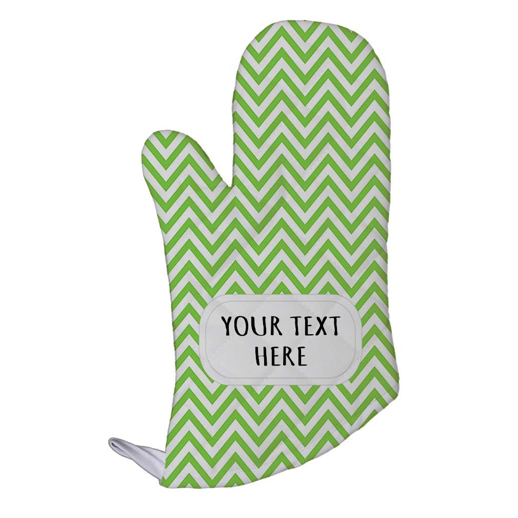 Style In Print Polyester Oven Mitt Custom Chevron 25 Pattern Apple-Green White Adults Kitchen Mittens