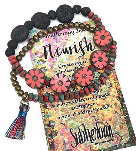 Subherban Handmade Essential Oils Aromatherapy Bracelet Set - FLEURISH -Lava Stone Diffuser Jewelry for Women - Coral Czech Glass