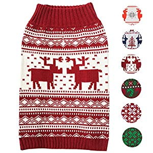 """Blueberry Pet 6 Patterns Vintage Festive Red Ugly Christmas Reindeer Holiday Festive Dog Sweater, Back Length 20"""", Pack of 1 Clothes for Dogs"""