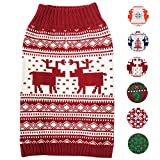 Blueberry Pet 6 Patterns Vintage Festive Red Ugly Christmas Reindeer Holiday Festive Dog Sweater, Back Length 10'', Pack of 1 Clothes for Dogs