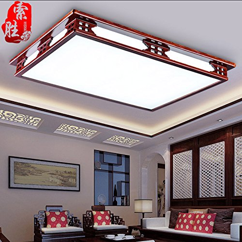 BLYC- Modernen chinesischen Stil Dimmen Lampe rechteckige geführte Studie einfach solide Holz Schlafzimmer Wohnzimmer Lampe Lampe Lampe 850 * 650mm