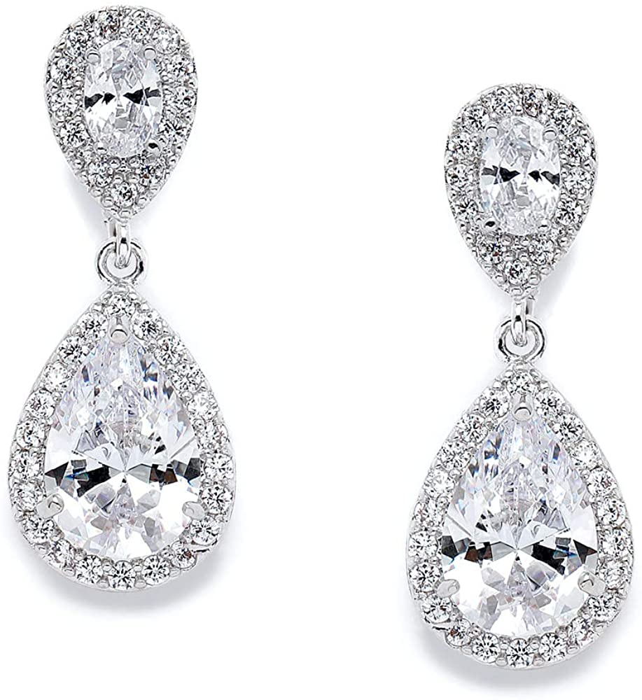 Mariell Dainty Cubic Zirconia Crystal Teardrop Earrings for Brides, Wedding  & Bridal Jewelry for Women