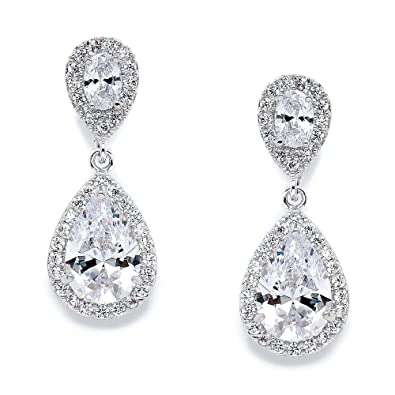 dd98cee62 Amazon.com: Mariell Cubic Zirconia Teardrop Wedding Earrings for Brides -  Genuine Platinum Plated Bridal Jewelry: Jewelry