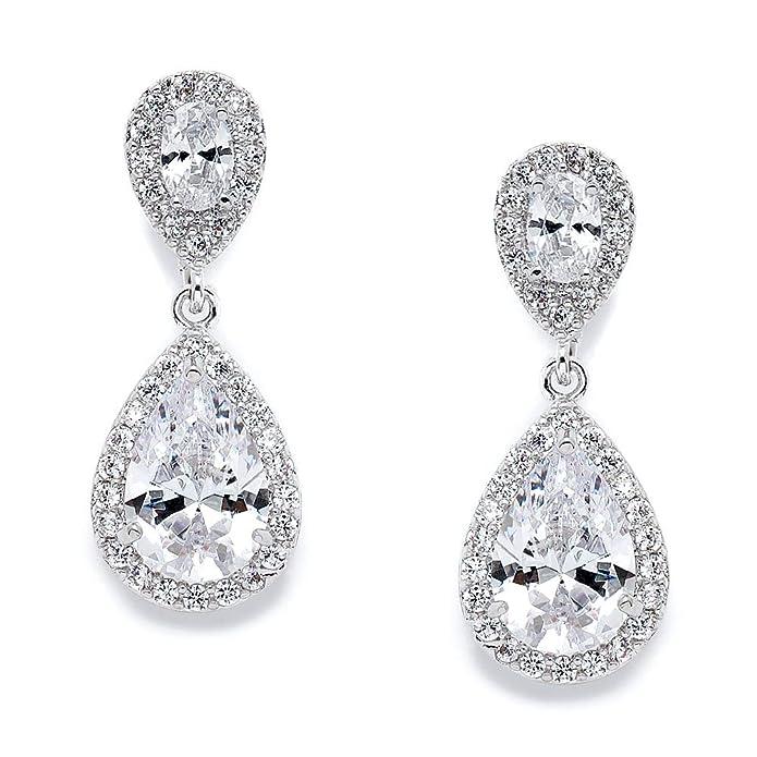 44b39ac67525a Mariell Cubic Zirconia Teardrop Wedding Earrings for Brides - Genuine  Platinum Plated Bridal Jewelry