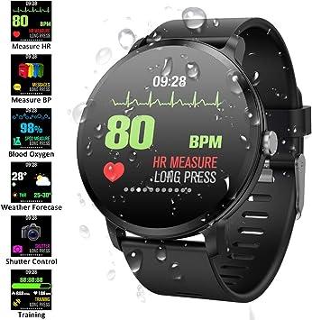Padgene Pulsera Actividad Reloj Inteligente SmartWatch Deportivo IP67 Bluetooth con Pulsómetro Monitor de Sueño, Música, Cámara Remota, Notificación de Llamada Mensaje para Android e iOS (Negro): Amazon.es: Electrónica