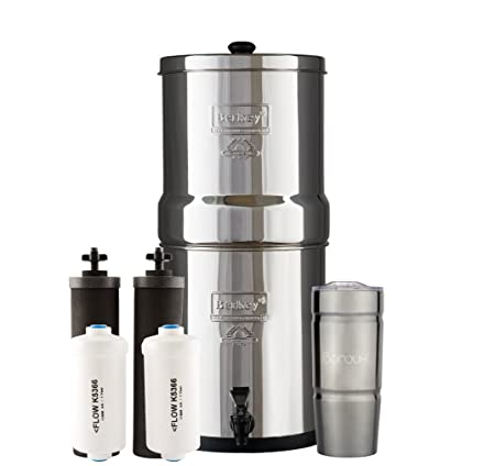 big berkey water filter system with 2 black purifier filters (2 ...