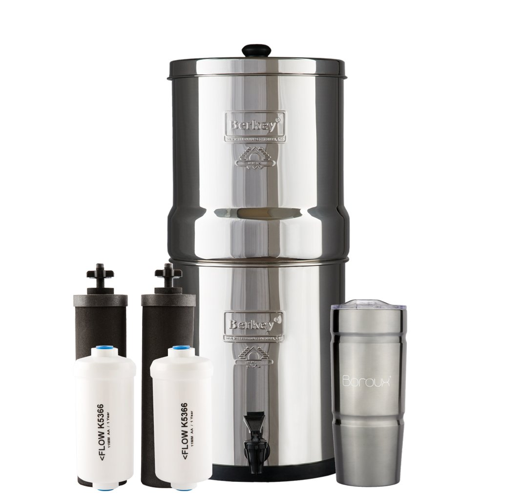 BIG Berkey Water Filter System with 2 Black Purifier Filters (2 Gallons) Bundled with 1 set of Fluoride (PF2) Filters and 1 Boroux Double Walled 20 oz Stainless Steel Tumbler Cup