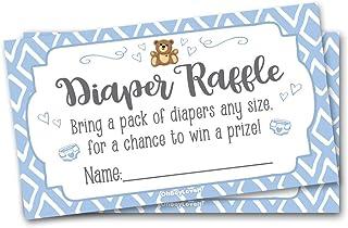 50 Diaper Raffle Tickets Blue Teddy Baby Shower Theme - Boy