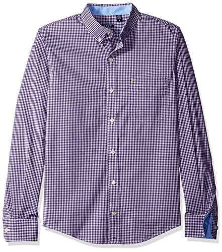 IZOD Men's Advantage Performance Non Iron Stretch Long Sleeve Shirt, Prism Violet, X-Large Slim