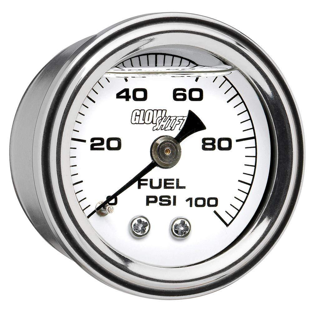 GlowShift Liquid Filled Mechanical 100 PSI Fuel Pressure Gauge - White Dial - Waterproof - Installs Under The Hood - 1/8-27 NPT Thread - 1-1/2 (38mm) Diameter