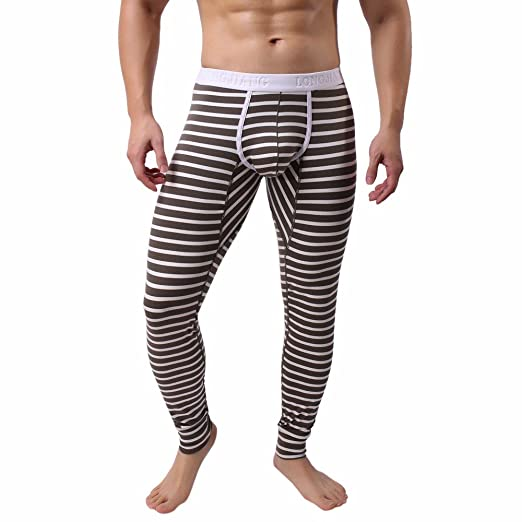 129ce11f8f39d4 YAliDa 2019 clearance sale Mens Striped Breathe Patchwork Low Rise Leggings  Long Johns Thermal Pant(