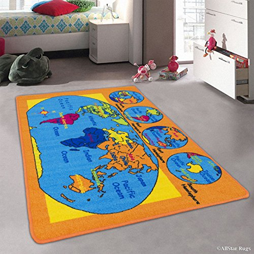 Allstar Kids / Baby Room Area Rug. World Map. USA Map. Ocean. Continents. Bright Colorful Vibrant Colors (7' 3