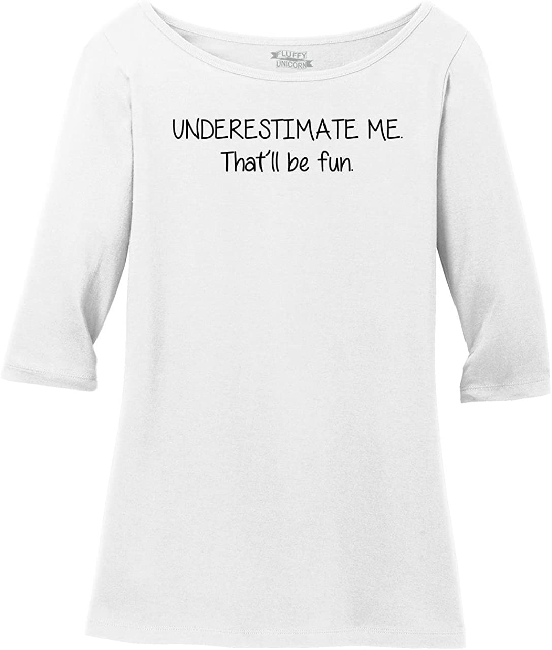 Sichun Underestimate Me Thatll Be Fun T Shirt,Leopard Letter Print Side Button for Women Long Sleeve Tunic Tops