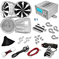 Pyle 600 Watt Weatherproof Motorcycle Speaker and Amplifier System w/ Four 3 Inch Waterproof Speakers, AUX IN - Handlebar Mount ATV Mini Stereo Audio Receiver Kit Set - Also for Marine, Boat - PLMCA98