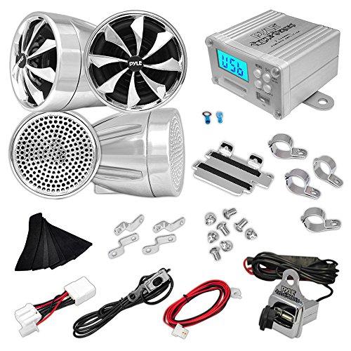 Updated Premium Motorcycle Audio System - 600 Watts Speaker and Amplifier - ATV/Snowmobile Mount 4 Channel - 4 3-Inch Waterproof Speakers, Handlebar Mount Aluminum Die-cast - USB/SD Card, FM Radio