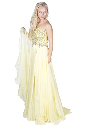 Sherri Hill 3895 Light Yellow Strapless Dress UK 6 (US 2)