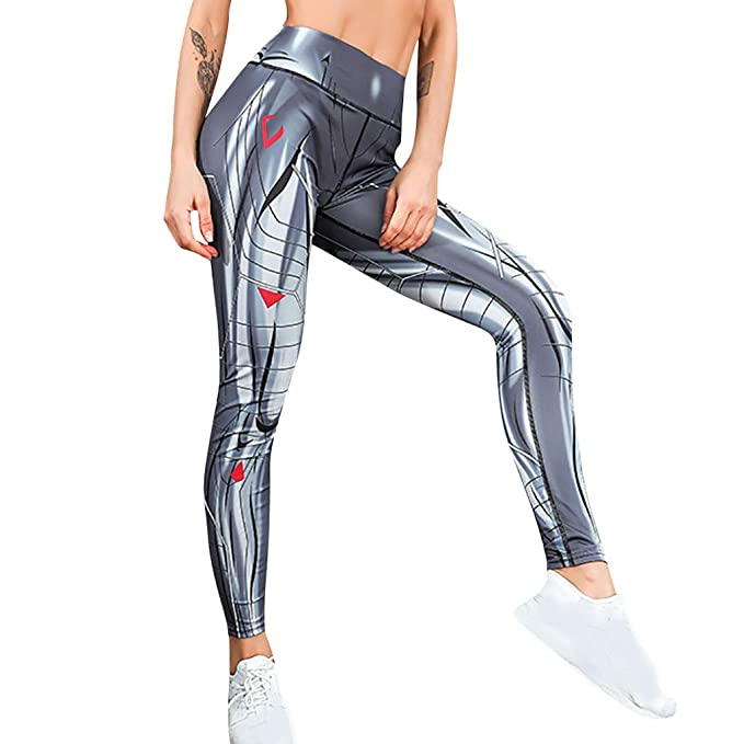 787f226e586b8 Women High Waist Tummy Control Yoga Pants Muscle Printed Splice Butt Lift  Leggings Running Sports Tights Trouser: Clothing