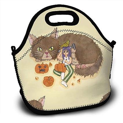 5450d2910bcf Amazon.com - LIUYAN Custom Lunch Tote Girl Carving Pumpkin with Cat ...