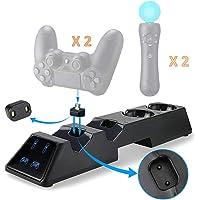 Thlevel Cargador Mando para PS4, Estación de Carga para PS4 / PS VR / Move Controller, 4 en 1 Estación de Carga con LED…