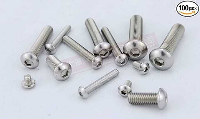 100pcs Metric Thread M3 Stainless Steel Button Head Hex Socket Cap Screws Bolts
