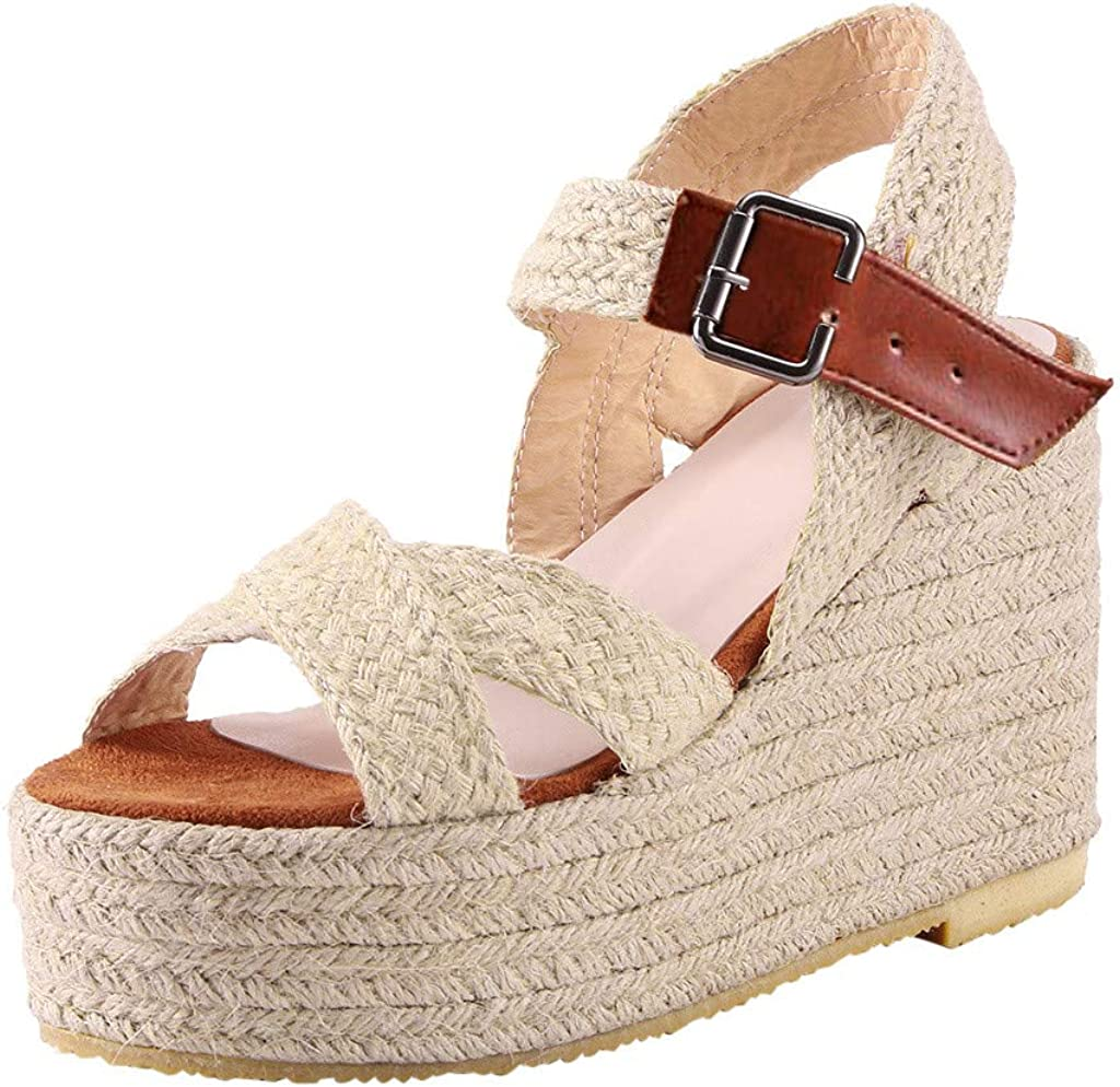 Gibobby Espadrilles for Women Wedge,2020 Retro Flat Wedge Ankle Buckle Sandals Summer Beach Sandals Open Toe Espadrilles