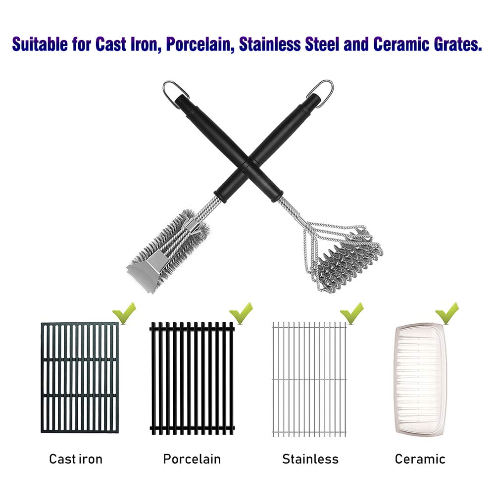 BBQ Grill Brush Set of 2, Safe Grill Cleaning Brush Stainless Steel Bristle Free with Scraper for Porcelain, Cast Iron, Stainless Steel, Ceramic Grill Grate Cooking Grid, 18'' Grill Tools Accessories by GASPRO (Image #2)