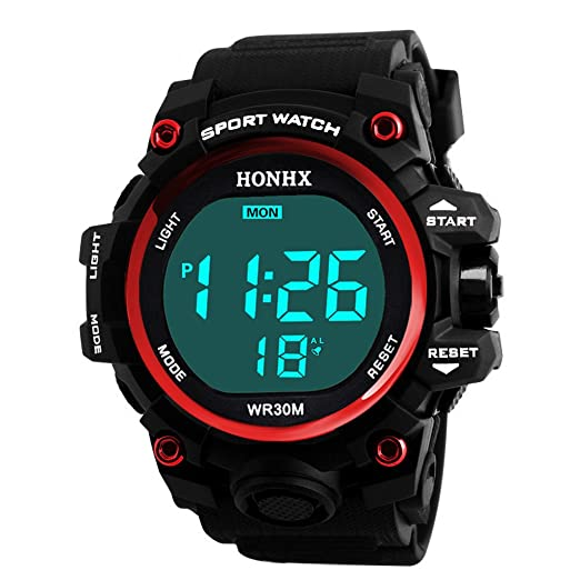 b639a4f95 Amazon.com: POTO Digital Sports Watch HOT Sale Men Electronic Waterproof  LED Military Army Sport Wrist Watch (Red-1): Watches
