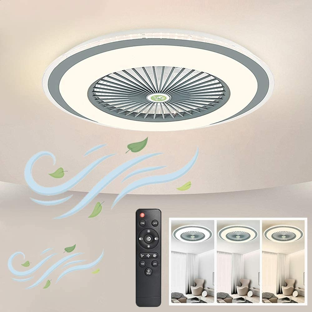IYUNXI Ceiling Fan with Lights Oversize 24' Remote Control 40W Ultra-Thin Design Enclosed Round LED 3-Color Dimmable Fan Light with 5 Invisible Blades Low Profile Flush Mount 3-Gear Wind Smart Timing