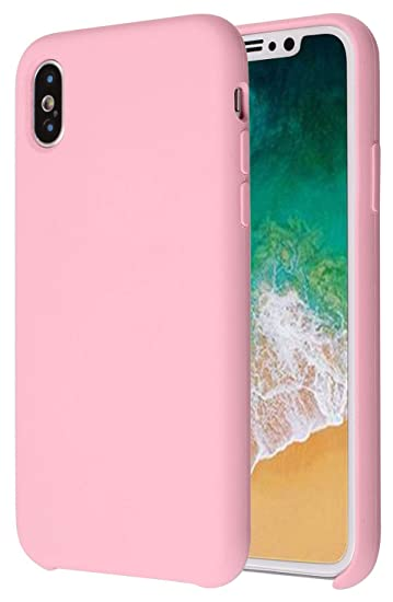 los angeles c9c20 06aa5 CheapSunday CSLX02 Soft Liquid Silicone iPhone X Cover Case Inner Soft  Microfiber Cloth Lining Cushion For Apple iPhone X/10 5.8inch (Pastel Pink)