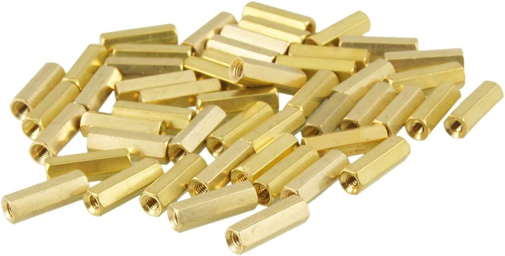 Aexit 50 Pcs Tube Fittings M3X15mm Gold Tone Hexagonal Female Thread Microbore Tubing Connectors Standoff Spacers