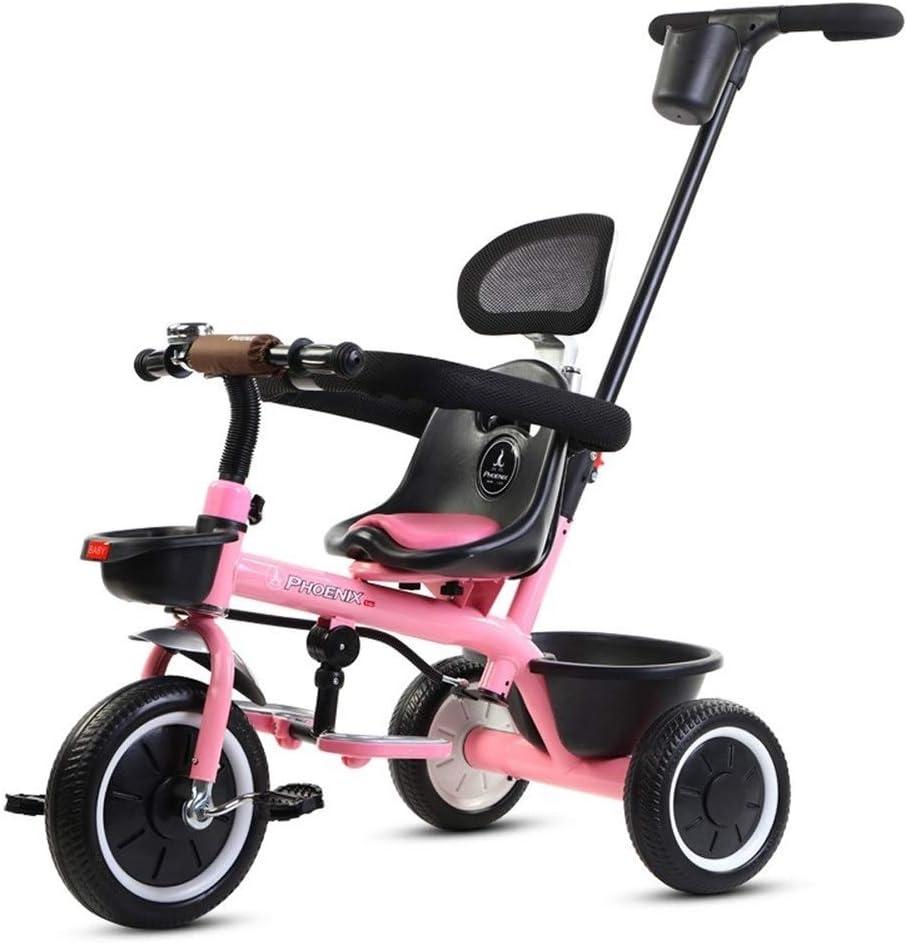 子供三輪車 SONG ベビー三輪車 トロリー 自転車 光 2 In 1 外出と持ち運び セキュリティフェンス 少年少女のおもちゃ (Color : Pink)