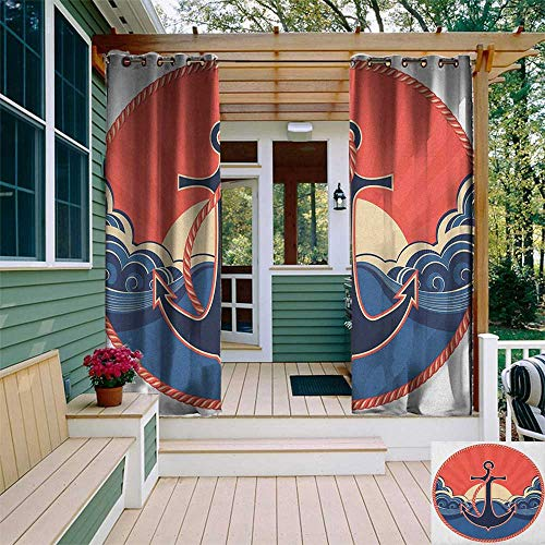 leinuoyi Anchor, Outdoor Curtain Panel Design, Navy Label with Robe and Sea Waves at Sunset Anchor Retro Aquatic Life Icons, Fabric by The Yard W108 x L96 Inch Red Blue Yellow ()